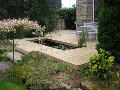 House garden services fencing decking for Garden decking with pond